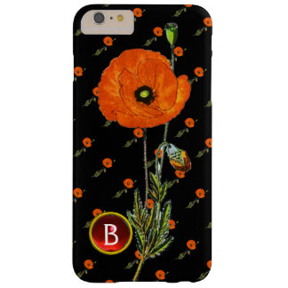 RED POPPY IN BLACK RUBY GEMSTONE  MONOGRAM BARELY THERE iPhone 6 PLUS CASE