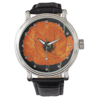 RED POPPY IN BLACK WITH GEMSTONES WATCHES