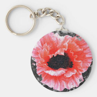 Red poppy jigsaw key-ring/key-chain key ring