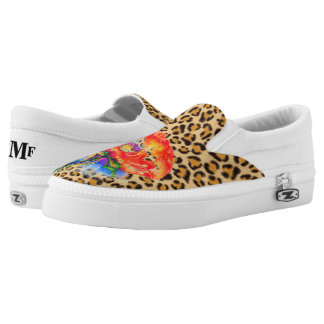Red Poppy -Leopard print -monogramed Printed Shoes