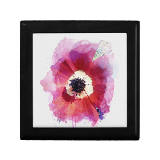 Red Poppy Magnetic Wooden Gift Jewellery Box M #2