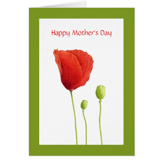 Red Poppy Mother's Day Card