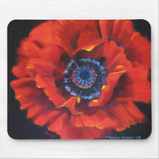 Red Poppy on black Mouse Mat
