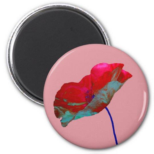 Red poppy on warm dark pink magnet