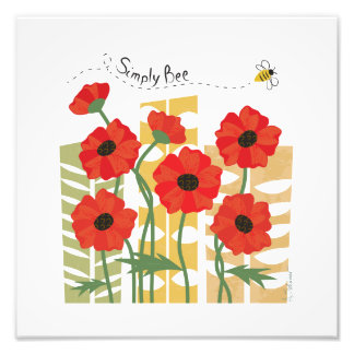 Red Poppy Patch with Bee Art Photo Print
