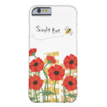 Red Poppy Patch with Bee iPhone 6 Case Barely There iPhone 6 Case