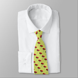 Red poppy pattern on spring green tie