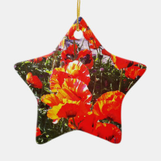 Red poppy print christmas ornament