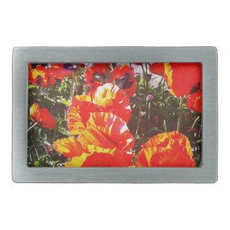 Red poppy print rectangular belt buckles
