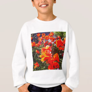 Red poppy print sweatshirt