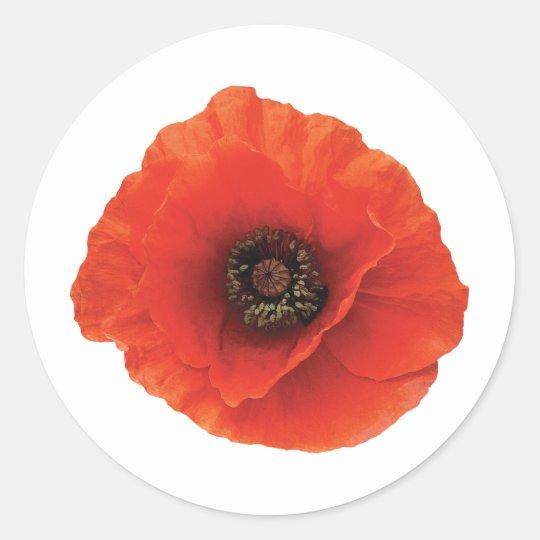 Red Poppy Round Sticker