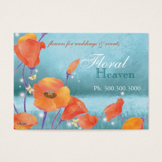 Red poppy Rustic Turquoise Spa Business Cards