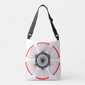 Red Poppy Seed Mandala Crossbody Bag