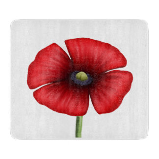 Red Poppy single stalk Small Glass Chopping Board