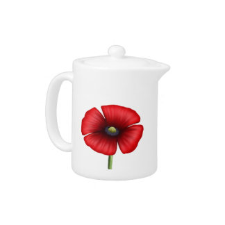 Red Poppy single stem teapot