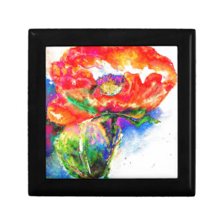 Red Poppy Small Square Gift Box