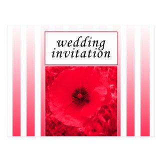 red poppy strip wedding invitation postcard