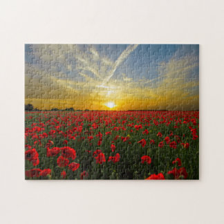 Red Poppy Sunset Jigsaw Puzzle