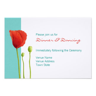 Red Poppy teal Reception Card Personalised Invitation