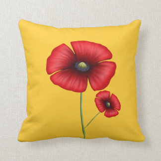 Red Poppy Throw Pillow