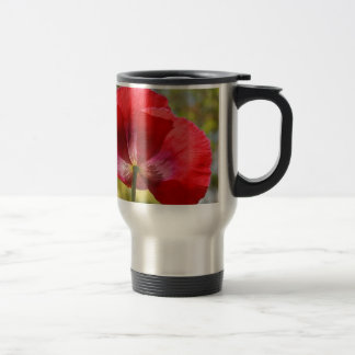 Red poppy travel mug