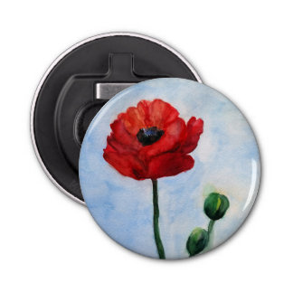 Red Poppy Watercolor Bottle Opener