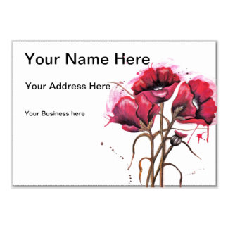 Red Poppy Watercolor Business Card Template