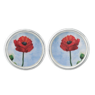 Red Poppy watercolor Round Cufflinks