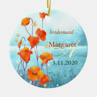 Red Poppy Wedding Bridesmaids Gift Ornaments