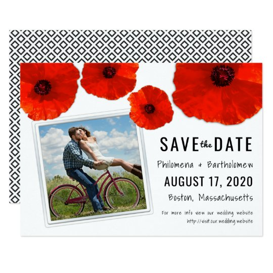 Red Poppy Wedding Photo Save the Date Card