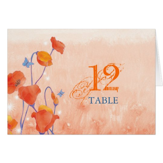 Red Poppy Wedding Table Number Folded Cards