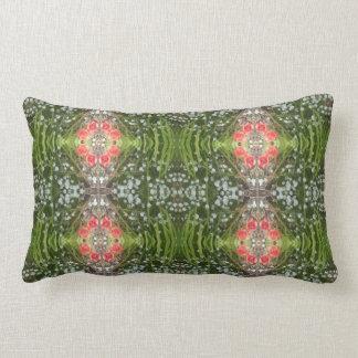 Red Poppy & White Flower Fractal Lumbar Pillow