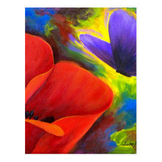 Red Poppy With Butterfly Art - Multi Post Card