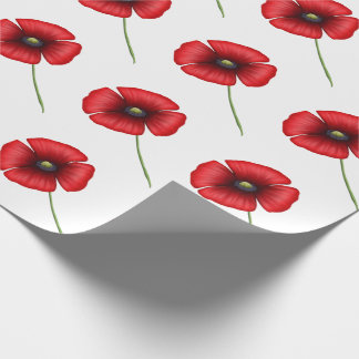 Red poppy wrapping paper