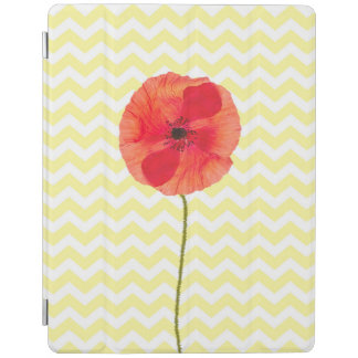 Red poppy yellow and white chevron pattern iPad cover