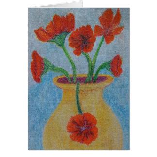 Red Poppy Yellow vase Card