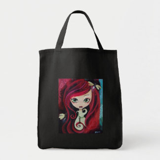 """Red Portrait"" Original Artwork Grocery Tote Bag"