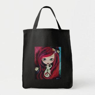 """Red Portrait"" Original Artwork Grocery Tote Bag"
