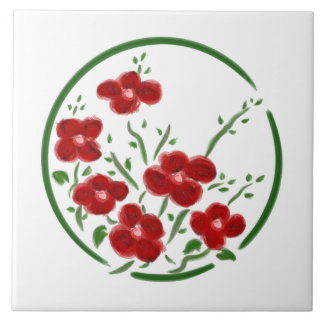 Red Posey Circle Decorative Tile