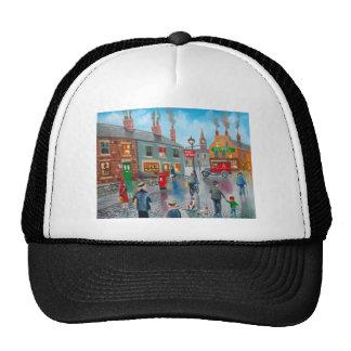 Red post van vinatge oil painting mesh hat