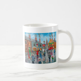 Red post van vinatge oil painting mugs