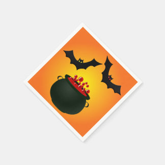 Red Potion and Bat Orange Disposable Serviettes