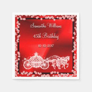 Red Princess Coach & Horses 45th Birthday Paper Napkins