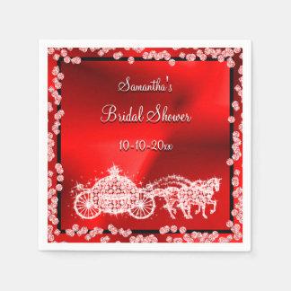 Red Princess Coach & Horses Bridal Shower Disposable Serviettes