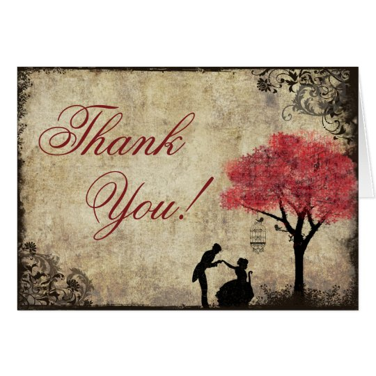 Red Proposal Vintage Thank You Card