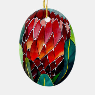 Red Protea flower original watercolour art Christmas Ornament