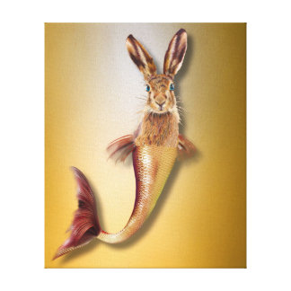 Red Psychedelic Haremaid Mermaid Hare Mix Funny Canvas Print