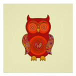 Red Psychedelic Owl