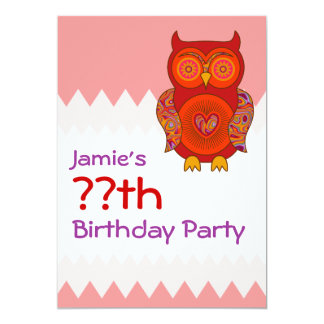 Red Psychedelic Owl Birthday Card