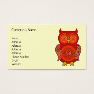 Red Psychedelic Owl Business Card